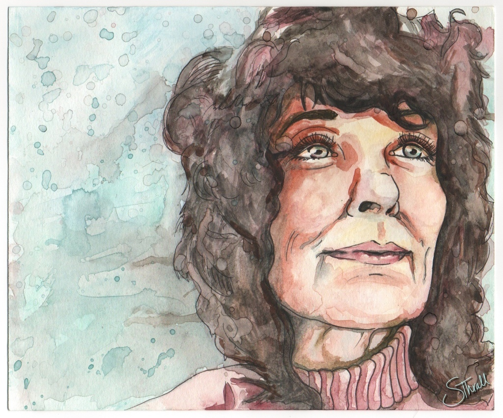 Watercolor and ink portrait of LindaPerhacs